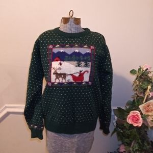 EUC Vtge Eddie Bauer Wool Novelty Ski Sweater